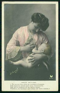 1905 Old French R Photo Postcard Victorian Woman Breast Feeding Baby | eBay