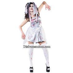 Tu mejor disfraz novia zombie de mujer.Con este disfraz de novia zombie podrás buscar a tu príncipe oscuro, y para pasar el resto de vuestros días en el otro mundo. Ideal para la noche de Halloween, Carnaval y Fiestas de Terror.Categoria:disfraces halloween adulto para mujer.Incluye:Tocado y vestido