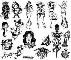 Free Photoshop Brush Set Sailor Jerry Tattoo Designs