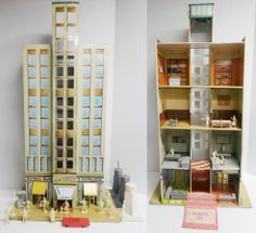 MARX: 1950s The SKYSCRAPER Building Tin Litho Playset