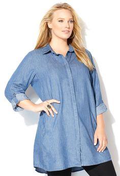 55c438e5c6d Denim Tunic Shirt with Pockets-Plus Size Tunic-Avenue Denim Tunic