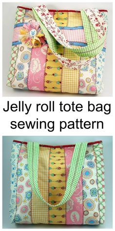 Jelly roll tote bag sewing pattern. Use 12 of your jelly roll strips or scraps to make this awesome looking bag.