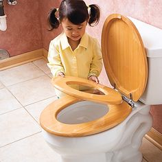 Wooden Family Seat Toilet Training Seat | OneStepAhead.com- Ours needs replacing and this is a great thing to have when you have a young kid in the house, even one who's already potty-trained because then you won't need an extra inner seat in the bathroom.