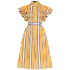 Vintage inspired fashion, dresses, sunglasses, skirts and accessories. Find unique pieces in the fashion outlet. Yellow Dress, Striped Dress, Vintage Inspired Fashion, Yellow Fabric, Tutti Frutti, Mother Of Pearl Buttons, Fashion Outlet, Comfortable Outfits, Blue And White
