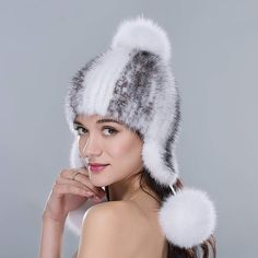 8f0d28ab9e3a5  URSFUR Women s Knit Mink Fur Hat with Cute Pom Poms Mutiple Color Mink Fur