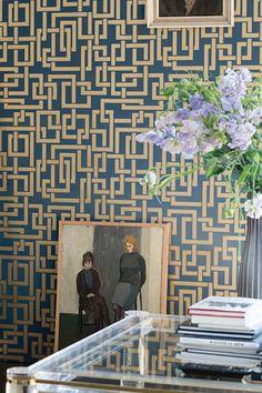 Farrow & Ball Enigma Wallpaper, Color: stiffkey blue no 281 Wallpaper, Wallpaper Trends, Geometric Wallpaper, Floral Wallpaper, New Wallpaper, Farrow Ball, Free Wallpaper Samples, Wall Coverings, Wallpaper Samples