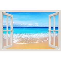 Window Frame Mural Beach Huge size Peel and Stick Fabric