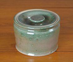 Ceramic Green Jar with Lid, Hand Thrown Porcelain Pottery, Ceramic Jar, Pet Urn, Kitchen Storage, Bathroom Storage, Gift   Caldwell Pottery