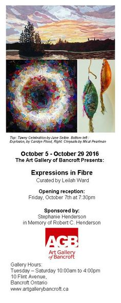 Expressions in Fibre. 5 - Art Gallery of Bancroft. Tuesday to Saturday to 10 Flint Ave., Bancroft, ON. Ontario, Tuesday, Art Gallery, Arts And Crafts, Quilts, Artist, Art Museum, Quilt Sets, Artists