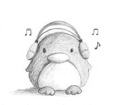Penguin listening to music drawing in pencil