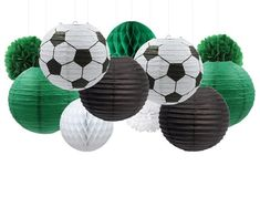 Birthdays & Party Decorations by PopPartySupply on Etsy Green Party Decorations, Casino Party Decorations, 1st Birthday Balloons, Soccer Birthday, Ball Birthday, Soccer Theme Parties, Soccer Party, Themed Parties, Purple Party