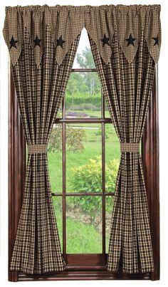 Gathered 84 Inch Homespun Lined Prairie Swag Curtains | Window ...