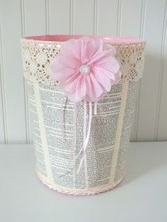 simply chic treasures: Shabby Chic Trash Can Makeover