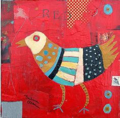 ♞ Artful Animals ♞ bird, dog, cat, fish, bunny and animal paintings - Barbara Olsen Bird Quilt, Owl Quilts, Baby Quilts, Galo, Naive Art, Art And Illustration, Whimsical Art, Bird Art, Oeuvre D'art