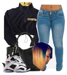 """Hey babes "" by trillest-queen ❤ liked on Polyvore featuring мода, DKNY и Retrò"