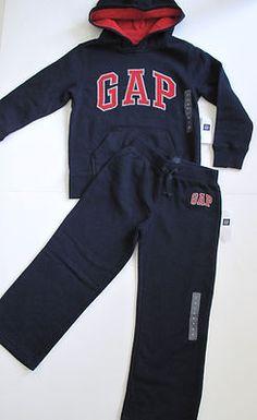 L Baby Gap Boy 5 5T Sweatpants Hoodie Set Outfit Fleece Lined Logo Navy Blue   eBay