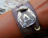 Capital Monogram Initial Jewelry, Silk Ribbon Bracelet, Yoga Fashion Wrist Wrap with Fine Silver Toggle, Custom Vintage Style Letter Jewelry. $49.95, via Etsy.