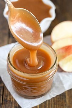 This easy homemade salted caramel sauce is perfect for topping on ice cream or almost any dessert!