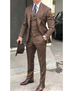 New Caramel Brown 3 Pieces Men Tuxedos Formal Suit (jacket +vest +pants) is part of Tuxedo for men Please Leave Note for Pants Size if it is not same as Jacket Size Tailoring Deli - Costume Homme 3 Pieces, Terno Slim, Mode Costume, Designer Suits For Men, Herren Outfit, Tuxedo For Men, Tuxedo Suit, Three Piece Suit, Mens 3 Piece Suits