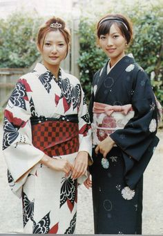 thekimonogallery:  Young women wearing contemporary kimono. Japan. Image via Pinterest