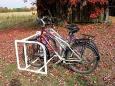 You can build a bike rack to store your bikes from lengths of plastic pipe. A Country Lore tip from the October/November 2011 issue.  data-pin-do=