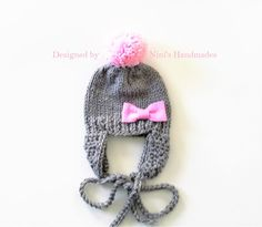 Pink Bow Chunky Grey Hat