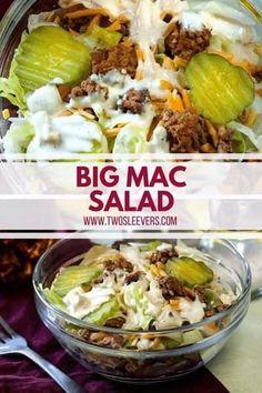 If you're keto and are missing Big Macs, here's a perfect Big Mac Salad and Big Mac Sauce recipe for you. Hamburger Salad Recipe, Low Carb Hamburger Recipes, Salad Recipes Low Carb, Beef Recipes, Healthy Recipes, Recipies, Fast Recipes, Healthy Salads, Snack Recipes