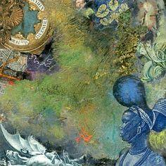 Original collage 'Dragon Blues' Approx. 2.75 x 2.75 by BANTOCKart, $800.00