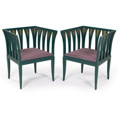 "Eliel Saarinen ""Blue Chairs"" pair, Finland, designed in 1929"