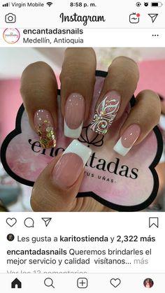 Glam Nails, Nail Manicure, Toe Nails, French Tip Acrylic Nails, French Nails, Fabulous Nails, Gorgeous Nails, Butterfly Nail Art, Floral Nail Art