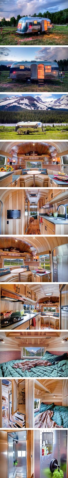 The average person might scoff at the thought of going cross-country in a trailer that was built in 1954, but that all changes when you see this immaculately restored Airstream Flying Cloud. The crew at Timeless Travel Trailers has worked their magic on this onetime hunting and fishing lodge, and you don't have to be a Baby Boomer to find the whole thing pretty glorious. #Wish it! #SpoiledOnline