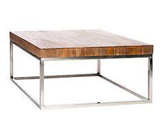 Table basse acier et manguier, argenté et naturel - L92