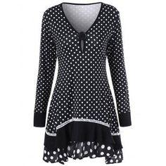 #AdoreWe #DressLily Dresslily Polka Dot Tunic T Shirt - AdoreWe.com