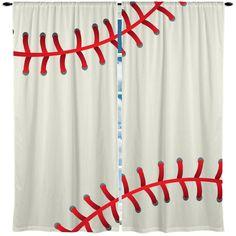 Baseball Theme Window Curtain or Valance, Personalized