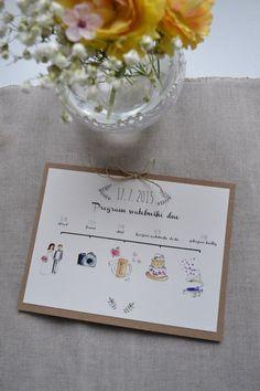 Program svatebního dne / Zboží prodejce atelier MADE Program, Place Cards, Place Card Holders, Weddings, Wedding, Marriage