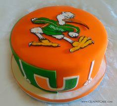 University of Miami Cake by quaintcake possible groom's cake? Camo Wedding Cakes, White Wedding Cakes, U Of Miami, Hurricane Party, Miami Football, Football Season, University Of Miami Hurricanes, Miami University, Miami Party