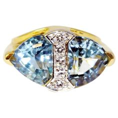 Retro Tiffany & Co. Circa 1940 Aquamarine Diamond Gold Platinum Ring 1