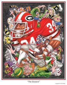 "UGA print featuring Herschel Walker entitled ""The Greatest"" by Dave Helwig @ Herschel Walker's Famous 34 Pub & Grill  UGA DAWGS Georgia Bulldogs Football"