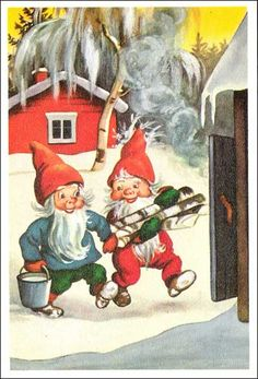 Olavi Vikainen Christmas Gnome, Old Christmas, Humanoid Mythical Creatures, Troll, Gnome Pictures, Elves And Fairies, Vintage Christmas Images, Leprechaun, Vintage Cards