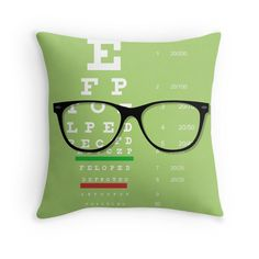 'Eyeglasses Chart Throw Pillow by bigbraingirl Optometry Office, Optometry Humor, Optical Shop, Art Optical, Eye Chart, Healthy Eyes, Eyes Problems, Eye Doctor, Eye Strain