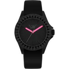LTD Watch LTD-290107 Limited Edition Shocking Pink Hands Black Rubber Watch