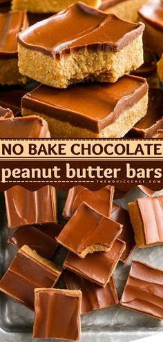 Here's a chocolate dessert idea the next time you crave something sweet! There's nothing quite like thick, chewy peanut butter bars layered with rich chocolate. Plus, this dessert recipe only takes 10… Candy Recipes, Brownie Recipes, Cookie Recipes, Dessert Recipes, Bar Recipes, Keto Recipes, Peanut Butter Desserts, Homemade Peanut Butter, Peanut Butter Bars