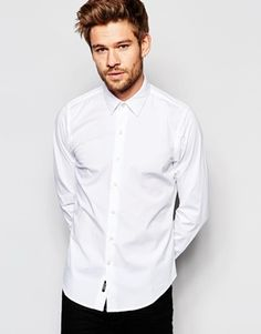 Replay Shirt Stretch Slim Fit in White