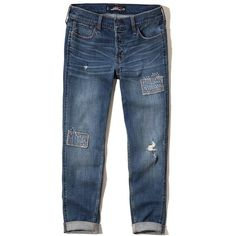 Hollister Boyfriend Jeans ($25) ❤ liked on Polyvore featuring jeans, pants, destroyed dark wash, low rise jeans, boyfriend fit jeans, faded blue jeans, blue ripped jeans and patch jeans