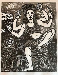 Jaima Kalima, Kali, Goddess Kali, African American Kali, Mokuhanga Kali Thangka Painting, Kali Goddess, Hindu Art, Buddhist Art, New Work, Westerns, Buddha, Queens, Carving