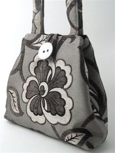 grey tote bag floral handbag diaper bag purse by daphnenen on Etsy, $95.00
