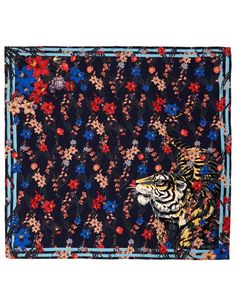Kenzo Navy Tiger Floral Print Silk Scarf | Silk Scarves by Kenzo | Liberty.co.uk