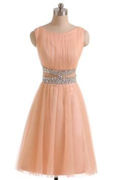 Cute A-line Jewel Knee Length Tulle Homecoming Dress with Beading