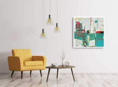 'Poolside' original painting in white floating frame x Available Floating Frame, Wood Paneling, Art Tutorials, Original Paintings, Abstract Art, Rooms, Ceiling Lights, The Originals, Interior