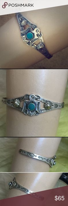 "Fred Harvey Era Sterling Turquoise Cuff Bracelet -  Vintage Fred Harvey Era Sterling Silver Turquoise Cuff Bracelet  A solid design with hand-stamping and a thunderbird with small turquoise cabochon focal point  Marked Sterling 4-3/4"" end to end plus a 1-1/4"" opening / 2-1/4"" wide across Probably fits a small wrist best Pre-owned, loved and worn so expect minimal surface wear and may need a light cleaning to shine up if so desired Vintage Jewelry Bracelets"
